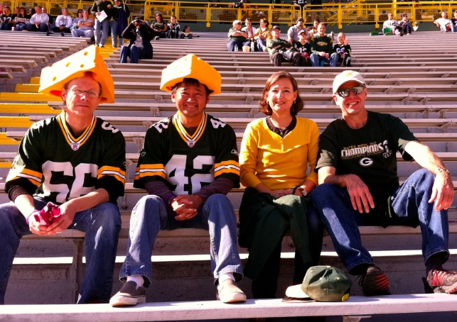 Tom, myself, Jackie and Randy @ Broncos game (Lambeau 10-02-2011).jpg